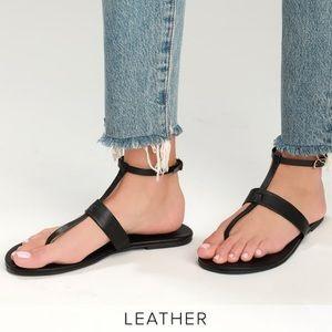 Lulus NIB Colleen Leather Ankle Strap Black Sandal